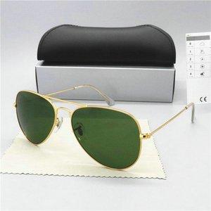 Premium Large Classic Matte Metal Aviator Sunglasses With Green Tinted Glass Lens Premium Larges Classic Matte Metal Aviator