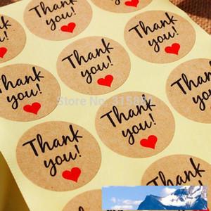 Papier kraft « Merci » étiquette adhésive avec le coeur rouge, diamètre 38mm Seal Étiquette autocollant pour le bricolage décoration cadeau et gâteau de cuisson Emballage