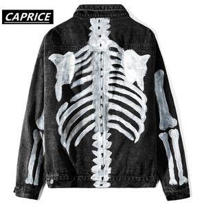 Men's Jackets Graffiti Skeleton Print Denim Jacket Streetwear Men Hip Hop Punk Rock Jean Coats Fashioin Casual
