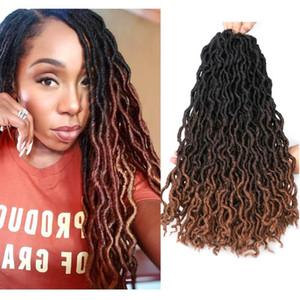 18inch Nu Locs ganchillo del pelo Trenzas diosa de imitación sintética rizado Locs Ombre Hair Braiding Pre Loop ondulada gitana de pelo de alta calidad de color marrón