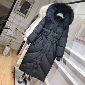 Mid-length down jacket 2020 new explosion models Korean large fur collar loose winter white duck down jacket