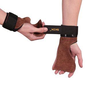 1pair peau de vache avec Wristband Fasten Wrap résistant à l'usure antichocs poignet portable ajusté soutien intérieur Fitness Palm Protector