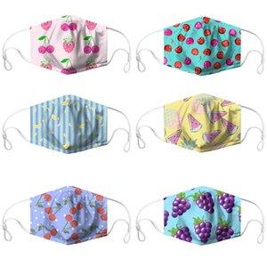 Fruit Imprimer Masque 3D Imprimer respirante Masques bouche lavable PM2,5 réutilisable antipoussière Coton Masque Raisin Fraise Imprimé DHC49