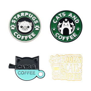 Cute Animals Coffee Enamel Lapel Pins Cat Dog Cartoon Brooches Badges Fashion Pins Gifts for Friends Wholesale