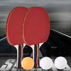 2pcs qualidade / lot Table Tennis Bat Racket cara dobro Espinhas Em Long Short Handle Ping Pong Paddle Racket Set Com Saco 3 Balls T200410