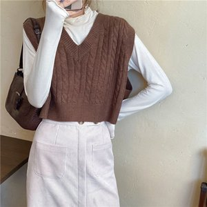 Women Casual Tank Tops Autumn 2020 Korean Style Vintage V Neck Short Knitted Sweater Vest Sleeveless Pullover Waistcoat T469
