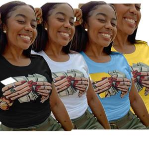 최신 여성 여름 T 셔츠 손 달러 인쇄 라운드 넥 반팔 풀오버 티셔츠 패션 트렌드 디자이너 운동복 핫 판매 LY713 탑
