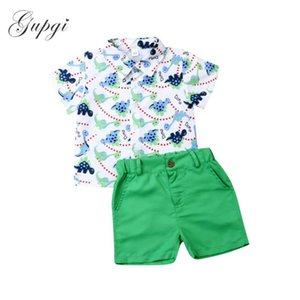 1-6Y Toddler Baby Kid Boys Clothes Set Cartoon Dinosaur Shirts Tops Green Shorts Summer Outfits Cute School Costumes