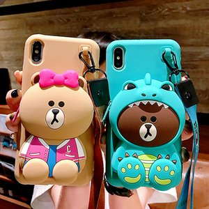 3D Cartoon Totoro bear Wallet Phone Case For iPhone XR wallet Case 6 7 8 Plus X XS Max Purse Soft Anti-fall Lanyard Strap Cover