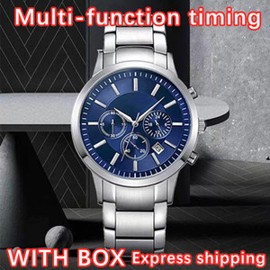 New Men's Watch AR Stainless Steel Brand Top best Fashion Casual Military Quartz Sports Watch Leather Strap Men's Watch relogio masculino-