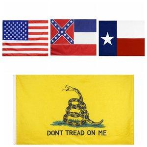 90 * 150cm Bandiere Stati Uniti d'America Mississippi State Flag Texas State bandiera di gadsden Stati Uniti poliestere Banner Bandiere 4styles RRA3370