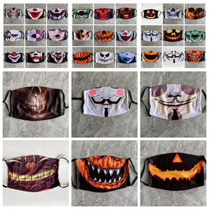 Yortusu Komik Kafatası Yüz Yıkanabilir Anti Toz Kabak Baskı Tasarımcı Maskeler 33styles RRA3362 PM2.5 toz geçirmez Palyaço Maskesi Maske