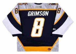 남성 여성 청소년 맞춤형 Stu Grimson Nashville Predators 2001 CCM 턴백하기 Hockey Jersey Goalie Cut Top-Quality 모든 이름