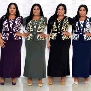 Long Evening Party Dress African Dresses For Women Dashiki Print Fake Two Piece Set Maxi Dress Bazin Robe Africaine Femme 2020