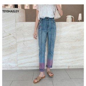 TIYIHAILEY Livraison gratuite 26-30 Pantalon longueur cheville Vintage Femmes Broderie Fleur Pantalons Jeans Casual Chinese Style