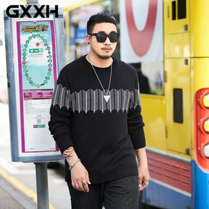 GXXH New Autumn Winter Knitted Sweater Men Brand Clothing Casual Solid Pullover Men Quality Loose Fit Jumper Male Black Sweater