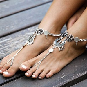 Mayforest Bohemian Jewelry Antico argento Antique Color Hollow Flower Catena Catena Anklets Beach Sandali a piedi nudi Sandali Piede Gioielli Boho Chic Anklets
