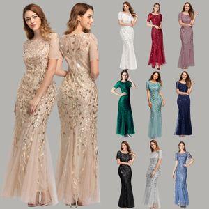 10 Colors Women Dresses Banquet Host Dress Slim Gauze Sequins Evening Dress Fishtail Dress Sexy Short Sleeve Retro Fashion