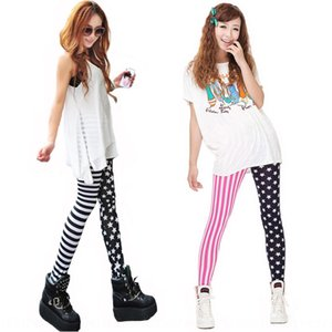 2020 hot-sale New Star stripe two-color stitching skinny tight Trousers tight pants leggings ankle-length pants women