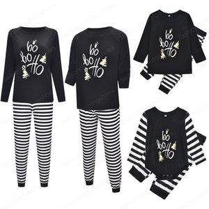 Family Matching Outfits Christmas Clothing Pajamas Sets Xmas Adult Mother Daughter Nightwear Pyjamas Stripe Print Sleepwear Sui