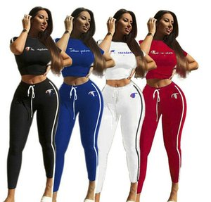 Women brand Short sleeve suits 2 piece Sets Causal Sportswear tracksuit pullover Tshirt pants printed Jogging Suit 2569