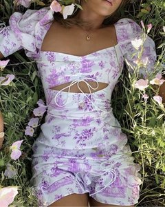 Stylish Chic Purple Floral Print Lace Up Cuff Mini Dress Elegant Women Sexy Backless Strapless Dresses Casual Vestidos