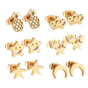 LUXUKISSKIDS Jewelry 6Pairs Box Stainless Steel Stud Earrings Cute Star brincos For Women Fashion Christams Earrings pendientes