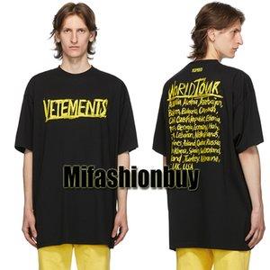 Primavera Verano 2021 Vetements Graffiti logotipo grande gira mundial de gran tamaño camiseta de los hombres de moda de las mujeres camiseta de algodón Camiseta casual