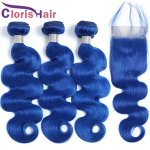 Full Head 4pcs Blue Weaves Closure Body Wave Peruvian Virgin Human Hair 3 Bundles With Lace Closure Colored Wavy Extensions And Top Closure
