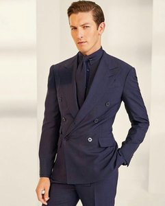 2020 Double Breasted Wedding Tuxedos Slim Fit Peaked Lapel Mens Designer Jacket Formal Party Suits Blazer Wear (Jacket+Pants)