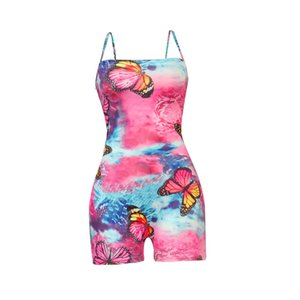 Butterffly Women Bodysuit Jumpsuits Rompers Girls One Piece Pants Back Cross Halter Shorts Skinny Onesies boutique Party Clothes CZ72802