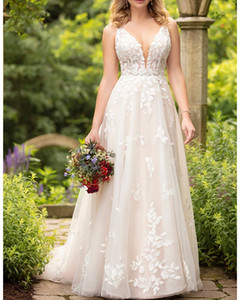 A-Line Wedding Dresses V Neck Sweep   Brush Train Tulle Sleeveless Sexy Backless with Embroidery Appliques
