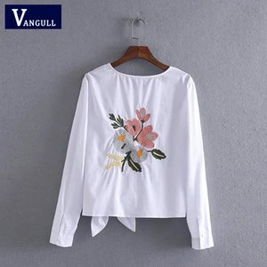 Vangull Women cotton embroidery white blouse O- neck bow back flowers embroidered shirt 2018 Summer Casual Shirts female tops Y200622