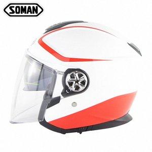 Soman Moto visiera del casco aperto del fronte Casque anti Uv Retro Casque Moto ECE Criterion Scooter Caschi 519 bwAT #