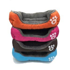 캔디 컬러 풋 프린트 애완 동물은 사각형 모양 개 패드 귀여운 따뜻한 봉제 창조 편리한 금형 증명 침대 용품