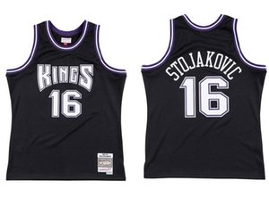 de baloncesto de los hombres de Sacramentoreyes16 PejaStojakovic Mitchell Ness negro auténtico Jersey 2001-02 maderas duras Clásicos