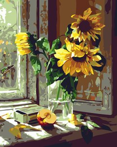 A New Frameless DIY Digital Oil Painting Hand-Painted Plant Windowsill Sunflower Three Scenes Foreign Trade