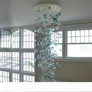"""Modern Blown bolha de vidro de turquesa do candelabro e Clear Color 108"""" LED Rodada alta candelabro de cristal para sala Staircase Início De"""