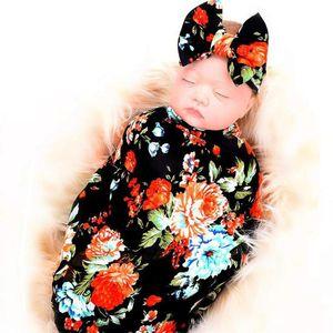 Yenidoğan Alma Battaniye Kafa Seti Çiçek Bebek Kundaklama siyah Blankets Alma yazdır