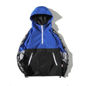 TIARAKA revestimentos encapuçados Homens New Patchwork Color Block Pullover Jacket Moda Treino Brasão Homens Hip Hop Streetwear Jacket masculino