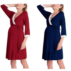 Women Dress for Pregnant Women Mother Lace Pregnant Long Sleeve Nursing Baby for Maternity Pajamas Dress