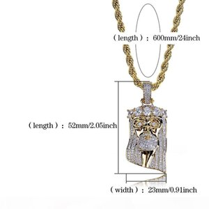 J New Copper Gold Color Plated Iced Out Jesus Face Pendant Necklace Micro Pave Cz Stone Hip Hop Bling Jewelry