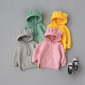 Toddler Baby Clothes 3D Ear Hoodies Solid Color Children Girl Sweatshirt Fleece Kids Boy Sweater Winter Winter Baby Clothing 6 Colors DW4651