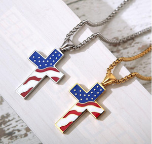 S1550 Hot Fashion Jewelry American Flag Cross Pendant Necklace Titanium Steel Cross Necklace