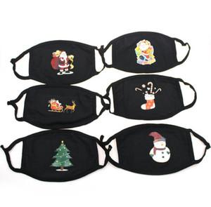 Рождественский подарок маска черный хлопок Пылезащитны Тепловые Теплый Сант-Клауса Pattern отпечатанной маска пыленепроницаемом моющегося ReusableWinter маска