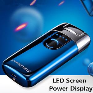 Customized Primo Nuovo doppio Arc Accendino USB elettronica ricaricabile Accendino schermo a LED di sigarette al plasma di induzione Palse Pulse Thunder Accendino