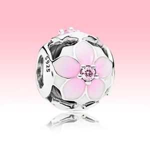 Openwork rosa magnolia fascino fiore con scatola originale per Pandora 925 sterling argento perline braccialetto braccialetto per il braccialetto