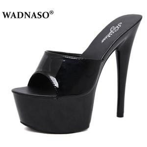 WADNASO Femme Mariage Chaussures Sandales 2020 Boîte de nuit sexy haut talons 15CM Pantoufles fines avec imperméable pompes d'été Sandal