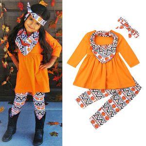 Halloween Thanksgiving Vêtements de bébé Garçons Filles citrouille Turquie Imprimer robe longue à manches Top Pantalons Bibs écharpe bébés Tenues M2301