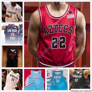 San Diego State sur mesure Basketball Jersey College Leonard Malachie Flynn Matt Mitchell Schakel Wetzell Feagin Mensah Seiko